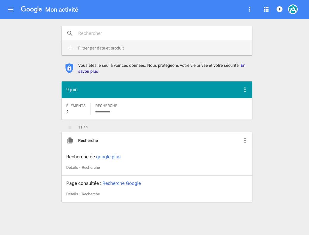 Supprimer vos recherches de Google